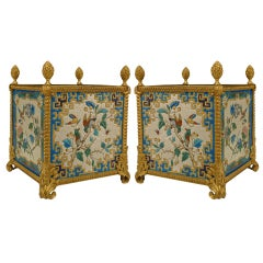 Pair Of 19th c. French Porcelain And Bronze Dore Square Cachepots
