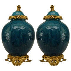 Pair Of Turquoise Porcelain And Bronze Dore Chinoiserie Vases