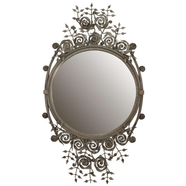 French Art Deco Style Wrought Iron Floral Wall Mirror