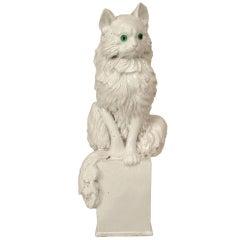 1950's Italian White Ceramic Cat Sculpture