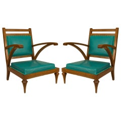 Pair of Oak And Turquoise Leather Slipper Chairs