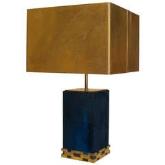 Bold 1970's Blue Resin And Brass Shade Table Lamp