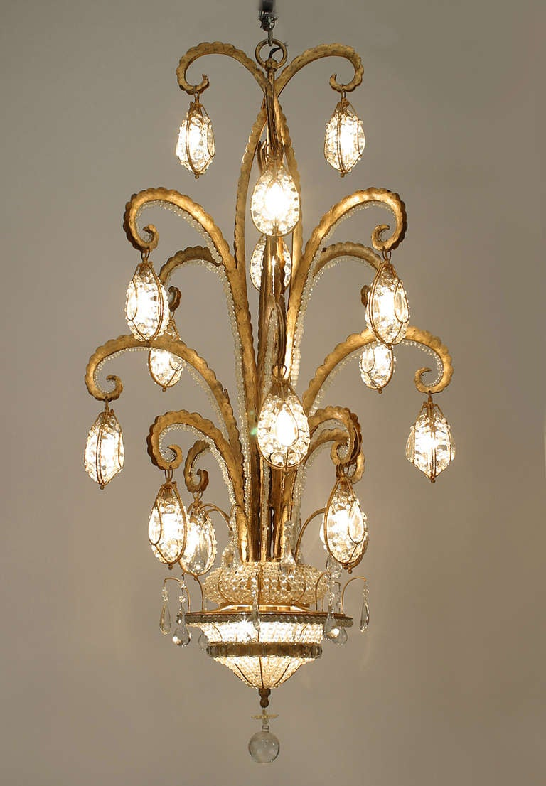 Modern Gilt Metal And Beaded Glass Quot Octopus Quot Chandeliers