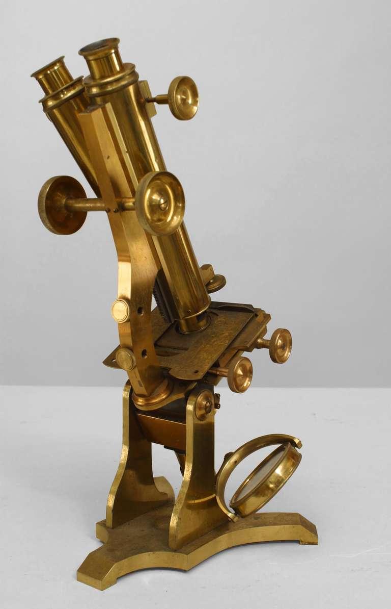 Victorian Brass Microscope C Late 19th Century England