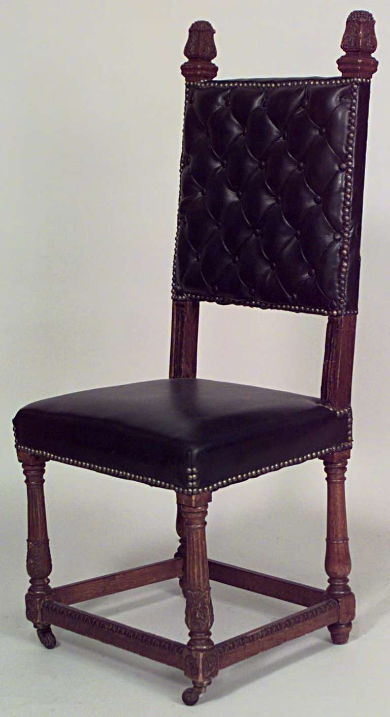 Set Of 4 Renaissance Style Oak And Leather High Back Side Chairs For Sale At