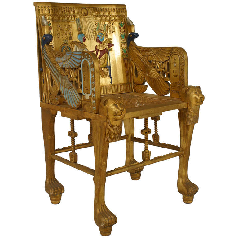 Early 20th Century French Egyptian Revival Armchair For