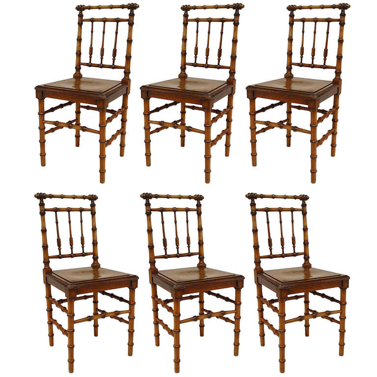 Bamboo Turned Chair: Six French Turn-of-the-Century Faux Bamboo Side Chairs For