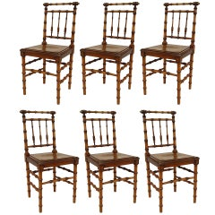 Six French Turn-of-the-Century Faux Bamboo Side Chairs