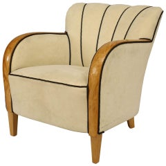 20th Century Swedish Biedermeier Upholstered Maple Club Chair