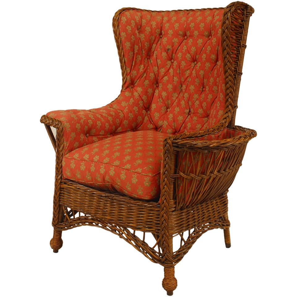 19th Century American Upholstered Wicker Armchair