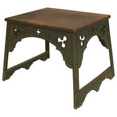 English Arts & Crafts Iron Coffee Table with Leather Top