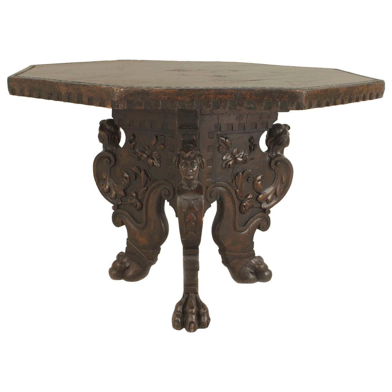 19th Century Italian Renaissance Revival Octagonal Walnut Center Table