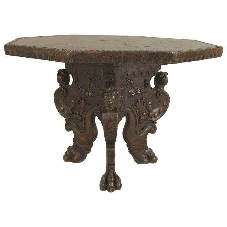19th Century Italian Renaissance Revival Octagonal Walnut Center Table For Sale