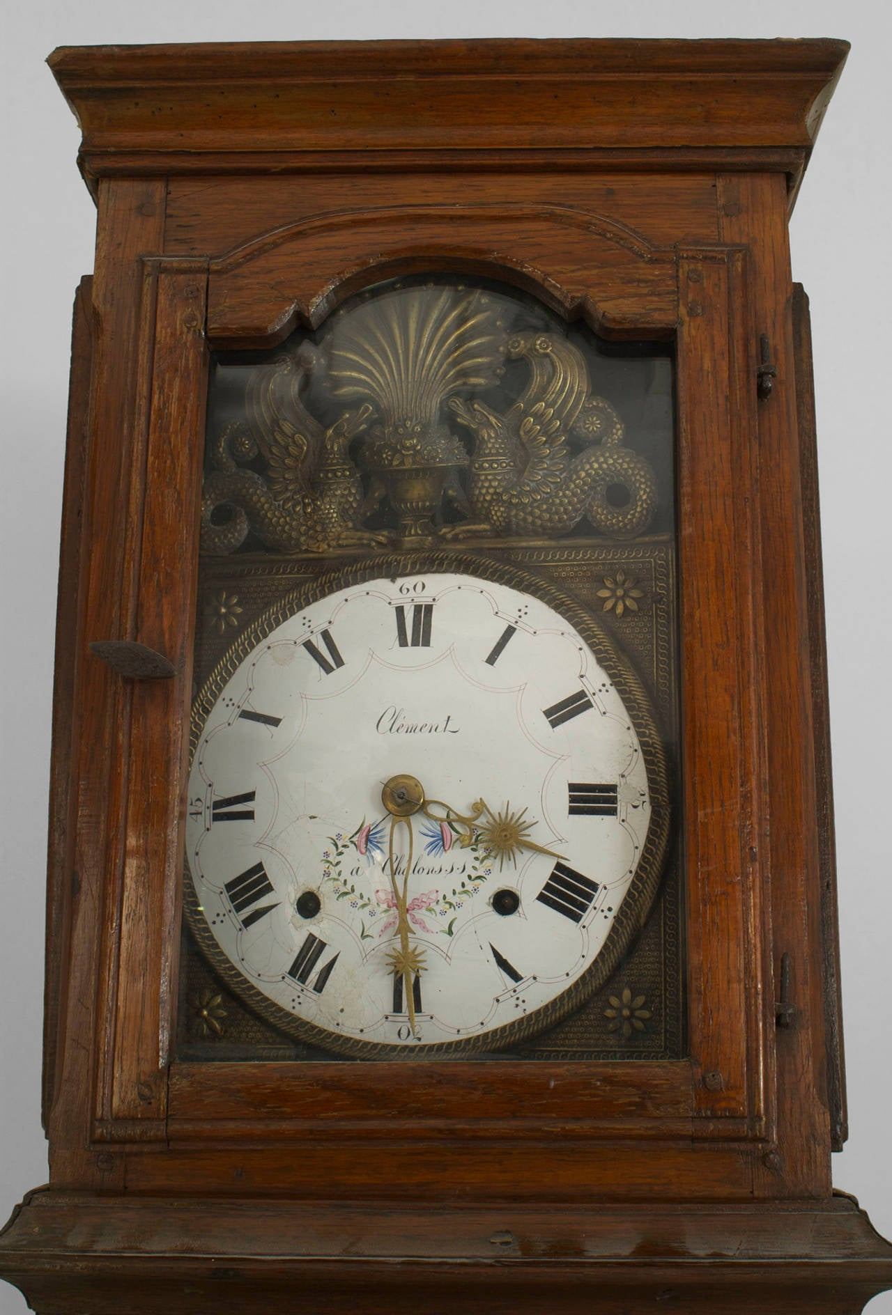 antique grandfather clock face. 18th century french provincial oak grandfather clock with an enamel griffin face 2 antique