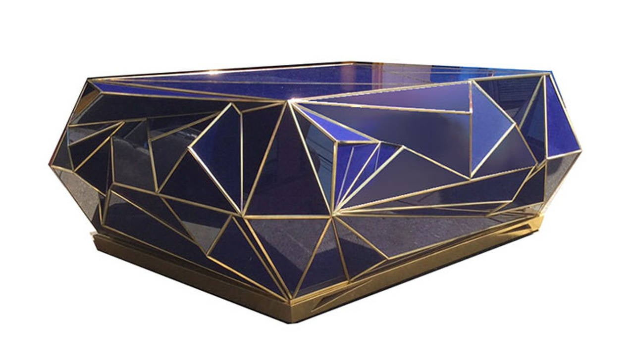 Contemporary brass trimmed cobalt glass geometric coffee for Geometric coffee table