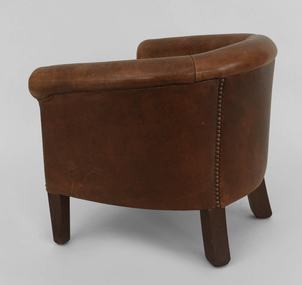 English Georgian Style Leather Round Back Childu0027s Club Chair In Good  Condition For Sale In