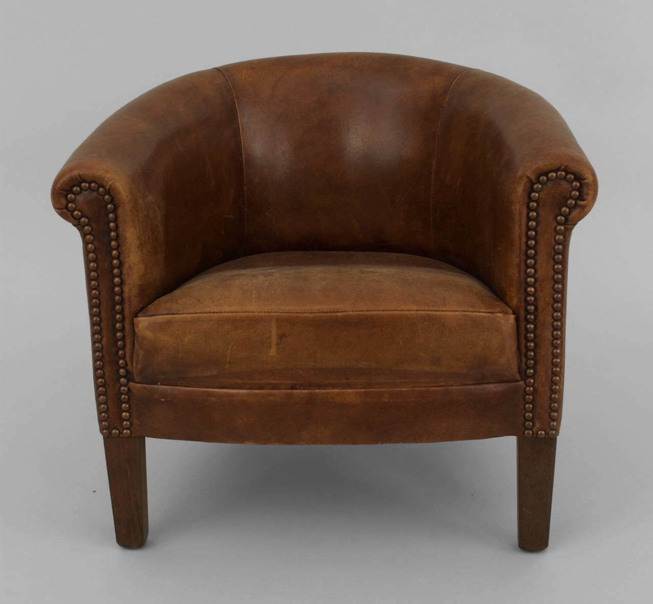 Charming English Georgian Style Round Back Brown Leather Childu0027s Club Chair With A  Seat Cushion And