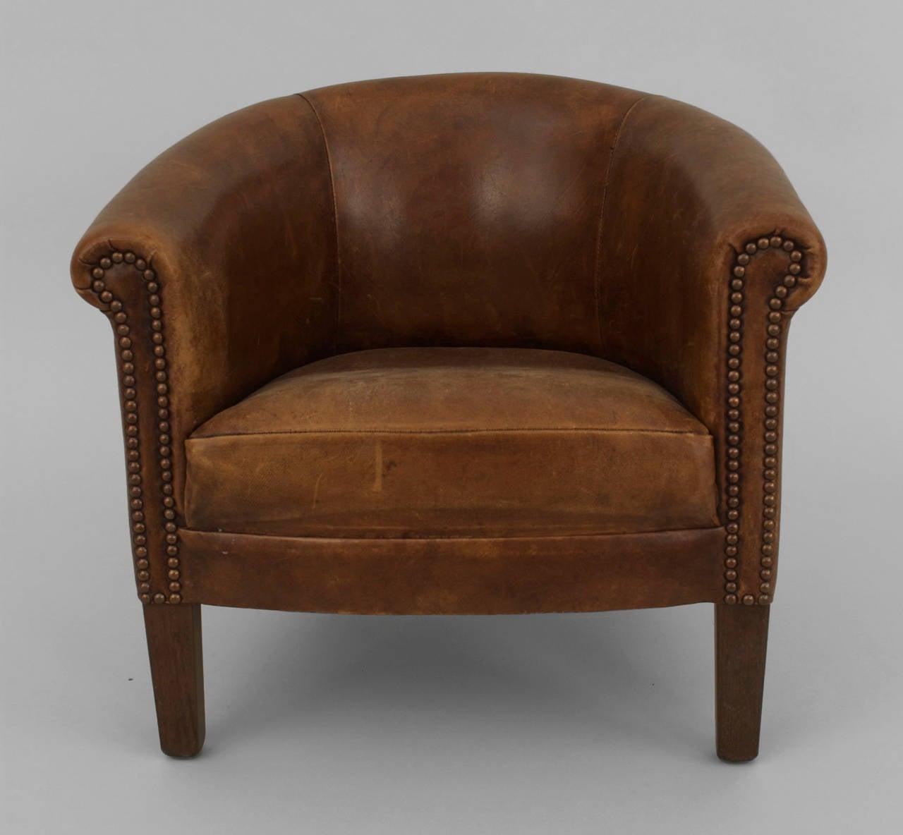English Georgian Style Leather Round Back Childu0027s Club Chair 2