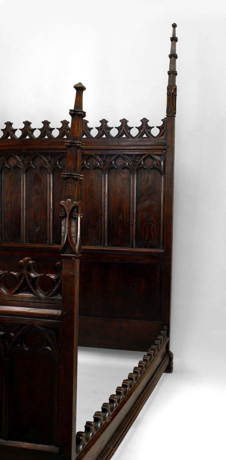 19th c gothic revival full size walnut bed for sale at 1stdibs