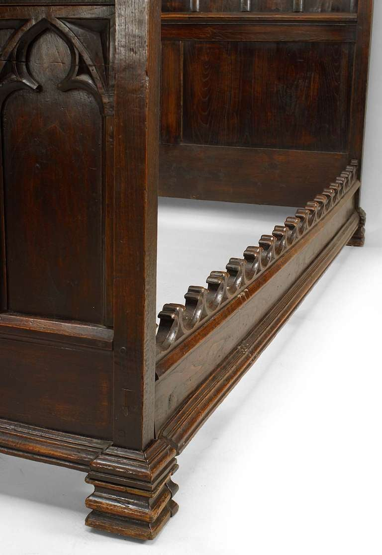 19th C. Gothic Revival Full Size Walnut Bed For Sale 2