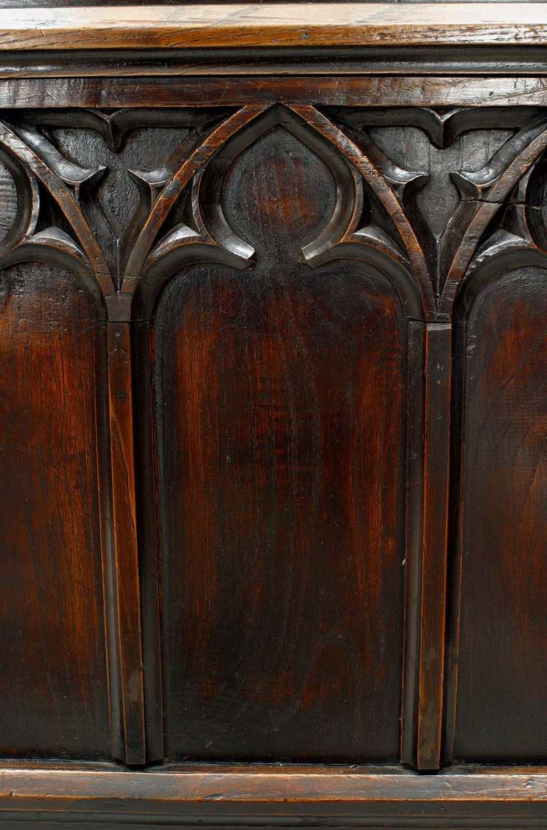 19th C. Gothic Revival Full Size Walnut Bed For Sale 4