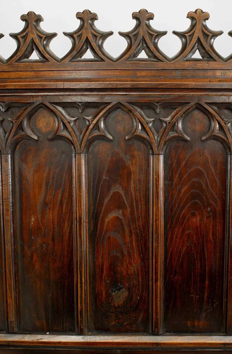 19th C. Gothic Revival Full Size Walnut Bed For Sale 3