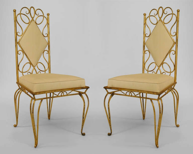 Pair Of French 1940's Gilt Metal Upholstered Side Chairs 2