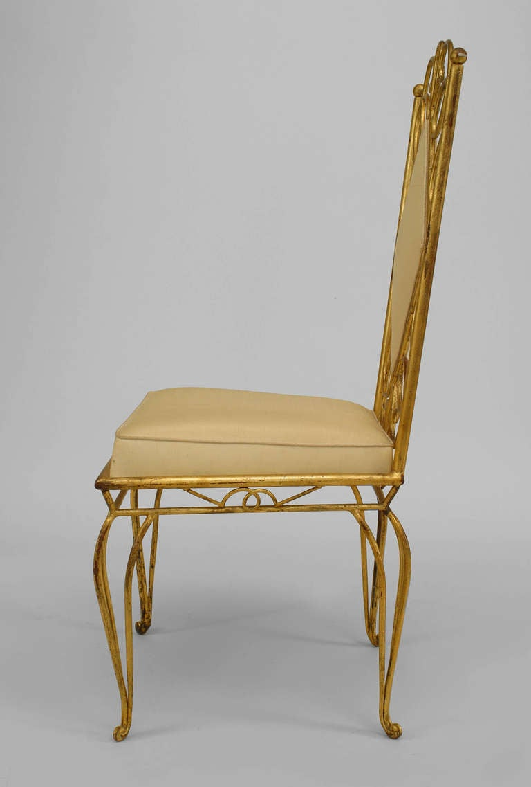 Pair Of French 1940's Gilt Metal Upholstered Side Chairs 3