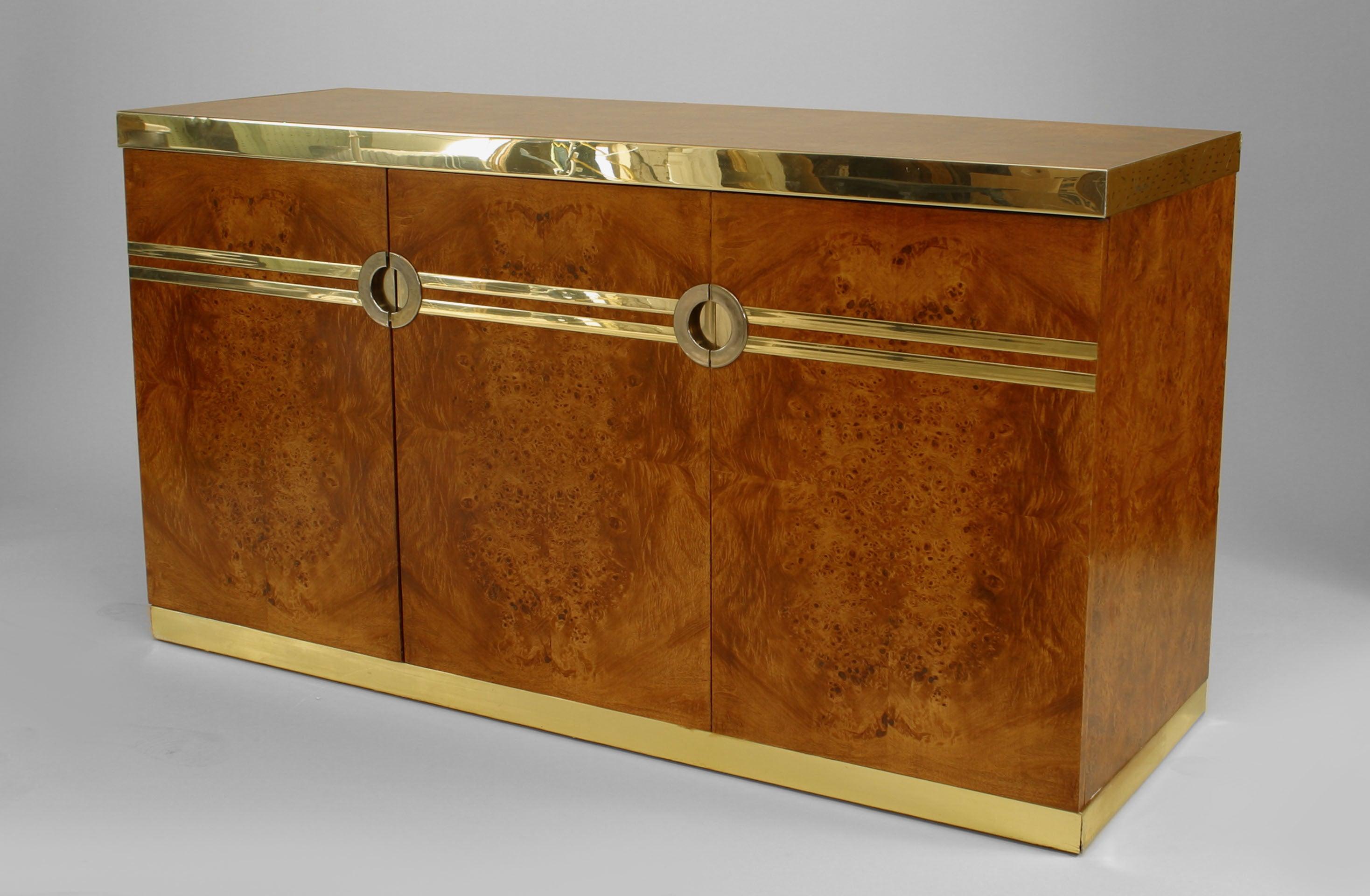 1970's Pierre Cardin Burl Walnut And Brass Buffet