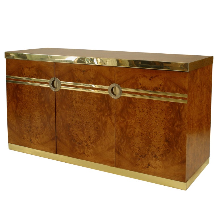 1970's Pierre Cardin Burl Walnut And Brass Buffet For Sale