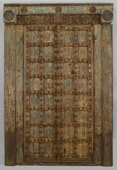 Pair Of  Carved And Painted Indian Doors with Original Paint