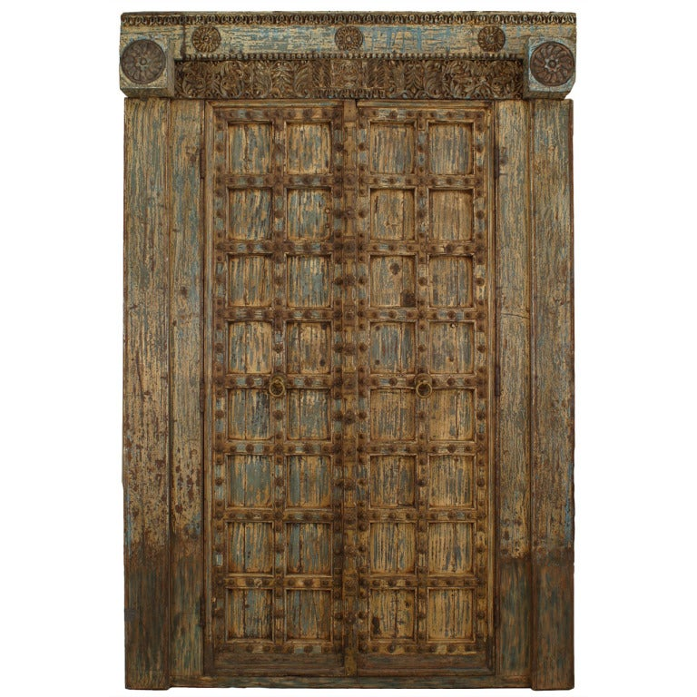 Pair Of Carved And Painted Indian Doors with Original Paint 1 - Pair Of Carved And Painted Indian Doors With Original Paint For