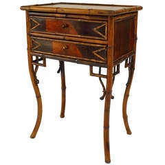 19th c. English Inlaid Bamboo And Marble Bedside Commode
