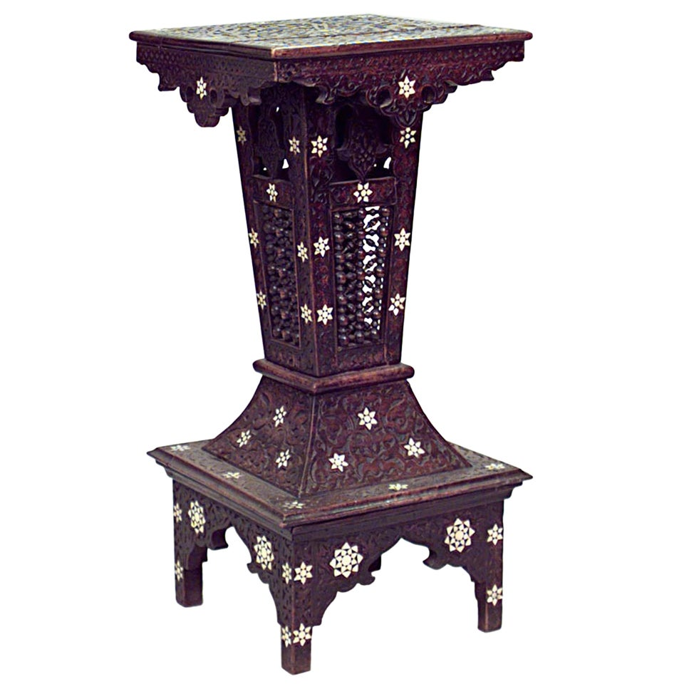 19th c. Moorish Style Carved Inlaid Walnut Pedestal