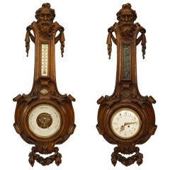 19th Century French Carved Walnut Clock and Barometer