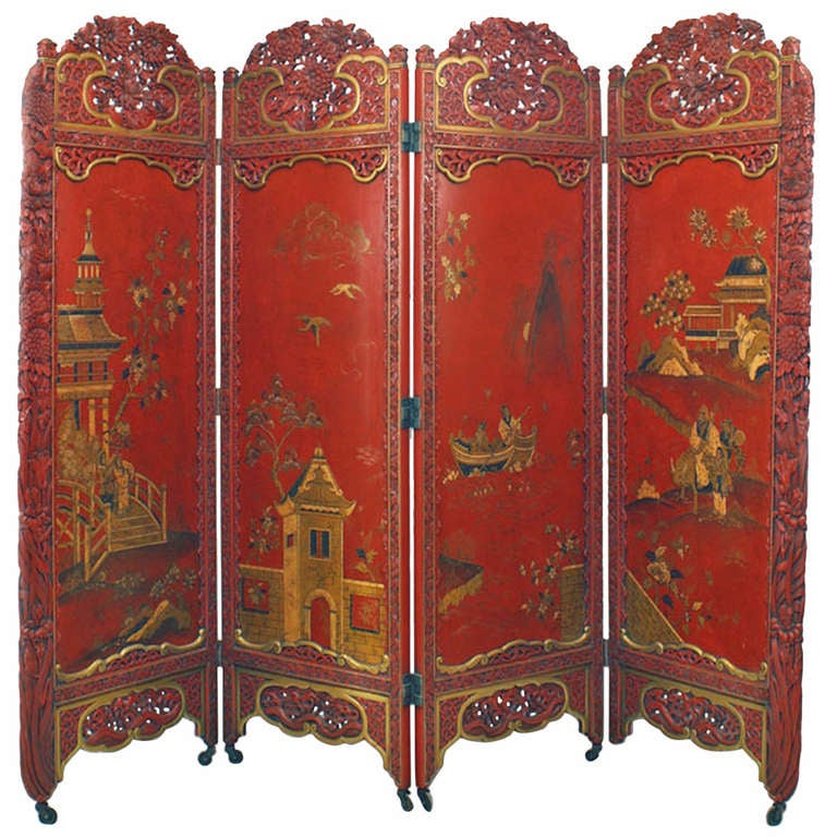 Red and gold lacquered chinoiserie screen for sale at 1stdibs for Red chinese furniture