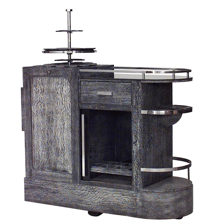 French Art Deco Oak Bar Or Tea Cart For Sale