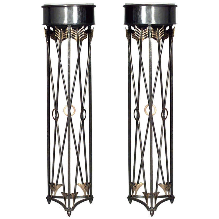 Pair of 19th c. Steel And Brass Marble-Top Cross Arrow Pedestals