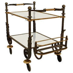 1940's Iron And Gilt Rope Glass Tea Cart, Attrib. To Poillerat