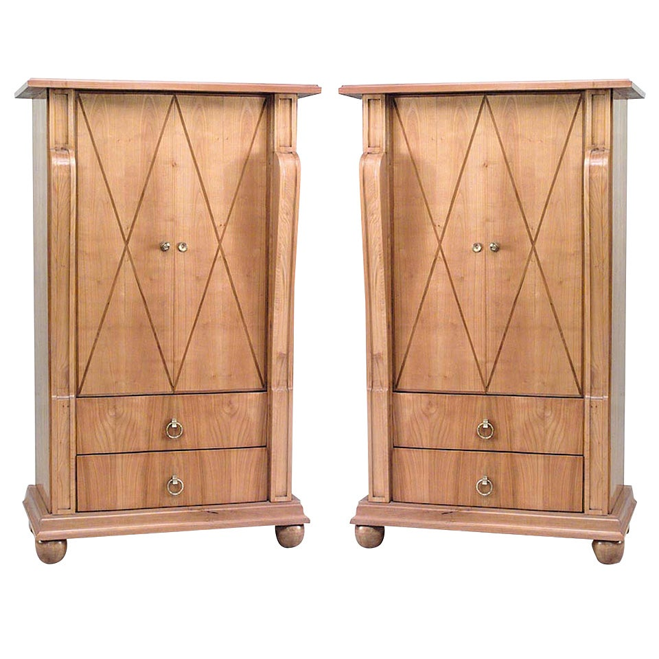 Pair of French Andre Arbus 1940s Maple Cabinets