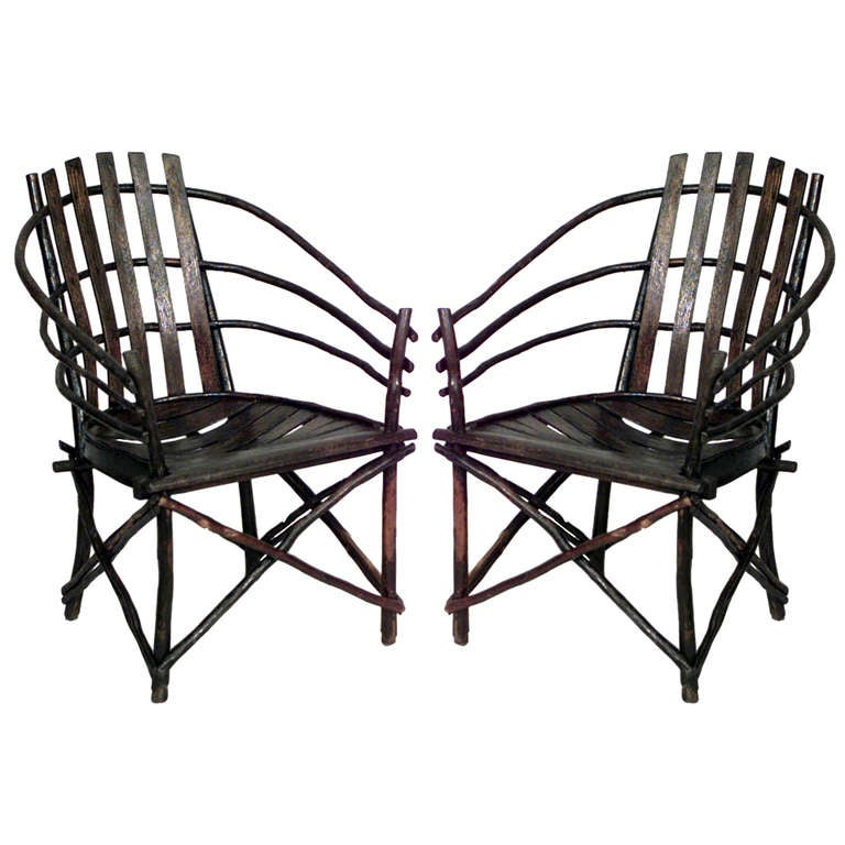 Pair of Willow Barrel-Back Adirondack Armchairs For Sale