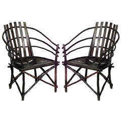 Pair of Willow Barrel-Back Adirondack Armchairs