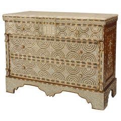 Syrian Marble Top and Mother of Pearl Chest of Drawers
