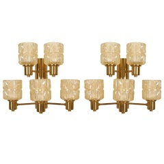 Pair Of Swedish Two-Tier Cut Sconces, By Hans-Agne Jakobsen
