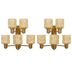 Pair Of Swedish Two-Tier Cut Glass And Brass Sconces By Jakobsen