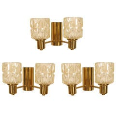 Swedish Cut Glass And Brass Sconces, By Jakobsen