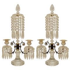 Pair of English Regency Waterford Crystal Candelabras