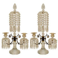 Pair Of English Regency Waterford Crystal Candelabra