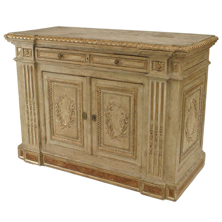 Italian Rococo Painted and Silver Gilt Carved Chest of Drawers