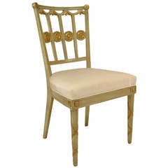 Set of Six Neoclassic Parcel-Gilt Upholstered Side Chairs